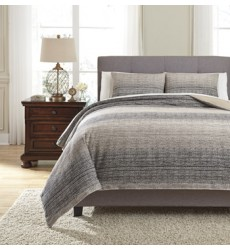 Ashley - Arturo Q33100 King Duvet Cover Set - Natural/Charcoal (Q331003K)