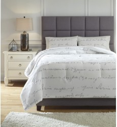 Ashley - Adrianna King Comforter Set - White/Gray ( Q337003K )