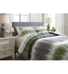 Ashley - Agustus King Comforter Set - Gray/Green ( Q366003K )