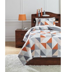 Ashley - Layne Q40800 Twin Coverlet Set - Gray/Orange (Q408001T)