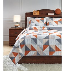 Ashley - Layne Q40800 Full Coverlet Set - Gray/Orange (Q408003F)