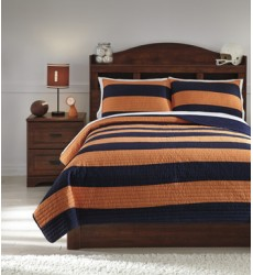 Ashley - Nixon Q41900 Full Coverlet Set - Navy/Orange (Q419003F)