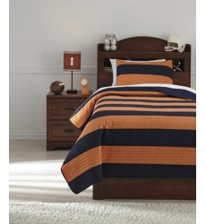 Ashley - Nixon Q41900 Twin Coverlet Set - Navy/Orange (Q419001T)