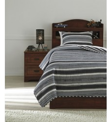 Ashley - Merlin Q42000 Twin Coverlet Set - Gray/Cream (Q420001T)