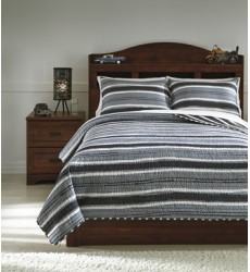 Ashley - Merlin Q42000 Full Coverlet Set - Gray/Cream (Q420003F)