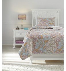 Ashley - Jessamine Q42100 Twin Coverlet Set - Pink/Orange (Q421001T)