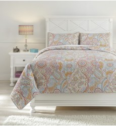 Ashley - Jessamine Q42100 Full Coverlet Set - Pink/Orange (Q421003F)