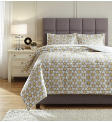 Ashley - Clio Q43500 King Comforter Set - Yellow/Black (Q435003K)