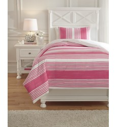 Ashley - Taries Q72902 Twin Duvet Cover Set - Pink (Q729021T)