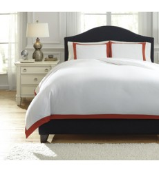 Ashley - Ransik Pike Q73302 King Duvet Cover Set - Coral (Q733023K)