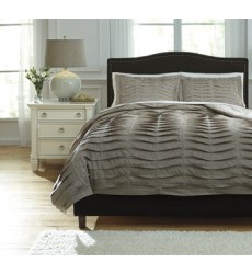 Ashley - Voltos Q75200 King Duvet Cover Set - Brown (Q752003K)
