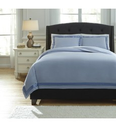 Ashley - Farday Q75502 Queen Duvet Cover Set - Soft Blue (Q755023Q)