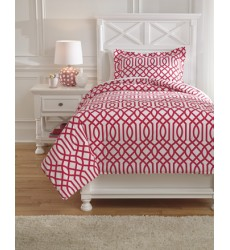 Ashley - Loomis Q75804 Twin Comforter Set - Fuchsia (Q758041T)