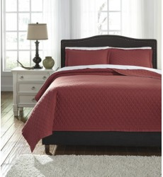 Ashley - Alecio Q76004 King Quilt Set - Red (Q760043K)