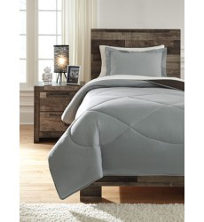 Ashley - Massey Q76101 Twin Comforter Set - Gray/Black (Q761011T)