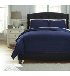 Ashley - Amare Q77602 Queen Coverlet Set - Navy (Q776023Q)