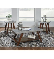 Ashley - Bellenteen T295 Occasional Table Set (3/CN) - Brown/Silver Finish (T295-13)