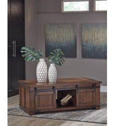 Ashley - Budmore T372 Rectangular Cocktail Table - Brown (T372-1)