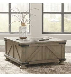Ashley - Aldwin T457 Cocktail Table with Storage - Gray (T457-20)