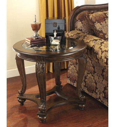Ashley - Norcastle T499 Round End Table - Dark Brown (T499-6)