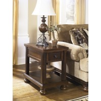 Ashley - Porter T697 Chair Side End Table - Rustic Brown (T697-3)