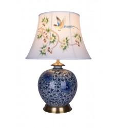 Blue & White Table Lamp (FUM02T11B) - Bethel International