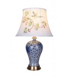 Blue & White Table Lamp (FUM03T8B) - Bethel International