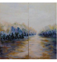 Gold & Blue Art Painting (JA74HG2450-T)