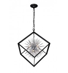 6 Light Chandelier with Chrome & Black Finish (1178P22-6-601) - CWI Lighting
