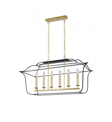 6 Light Island/Pool Table Chandelier with Satin Gold & Black Finish (1223P36-6-602) - CWI Lighting