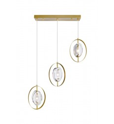 3 Light Island/Pool Table Chandelier with Brass Finish (1224P22-3-625) - CWI Lighting
