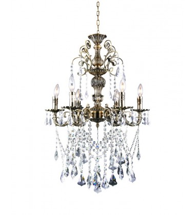 CWI- Brass 6 Light Up Chandelier with Antique Brass finish (2011P24AB-6)