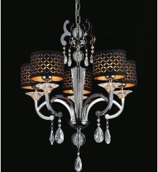 CWI- Hypnotic 5 Light Drum Shade Chandelier with Pearl Black finish (2028P25PB-5)