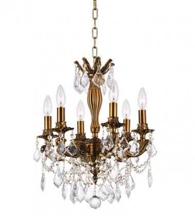 CWI- Brass 6 Light Up Chandelier with French Gold finish (2035P18GB-6)