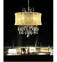 CWI- Halo 5 Light Drum Shade Chandelier with Antique Brass finish (2043P22AB-5 (gold))