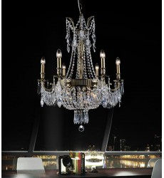 Brass 9 Light Up Chandelier with Antique Brass finish (2048P25AB-9) - CWI Lighting