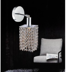 CWI- Glitz 1 Light Bathroom Sconce with Chrome finish (4281W-R-S (Clear))