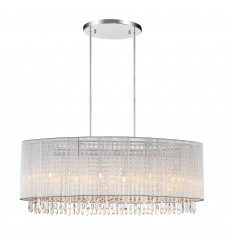 CWI- Sheer 6 Light Drum Shade Chandelier with Chrome finish (5004P35C-O (W))
