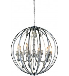 Abia 8 Light Up Chandelier with Chrome finish (5025P34C-8) - CWI Lighting
