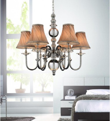 Curves 6 Light Up Chandelier with Chrome finish (5108P30C-6)