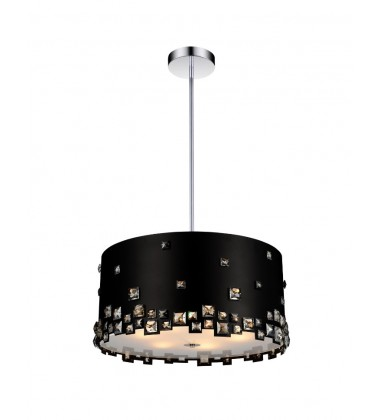 CWI- Shadow 5 Light Drum Shade Chandelier with Black finish (5116P16B)
