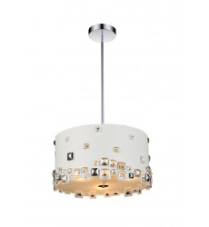 CWI- Shadow 6 Light Drum Shade Chandelier with White finish (5116P18W)