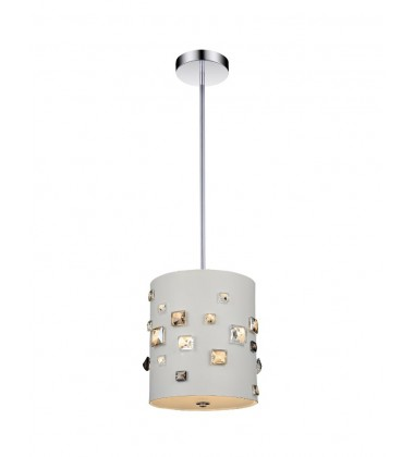 CWI- Shadow 3 Light Drum Shade Mini Pendant with White finish (5116P9W)