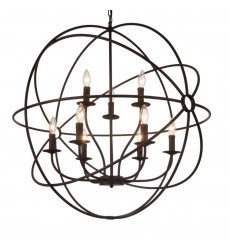 Arza 9 Light Up Chandelier with Brown finish (5464P32DB-9) - CWI Lighting