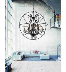Campechia 9 Light Up Chandelier with Brown finish (5465P36DB-9) - CWI Lighting