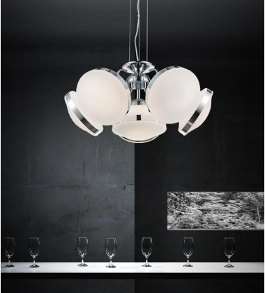 CWI- Frosted 6 Light Down Chandelier with Chrome finish (5478P24C-6)