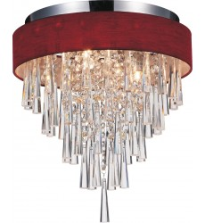 CWI- Franca 4 Light Drum Shade Flush Mount with Chrome finish (5523C16C (Wine Red))