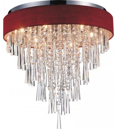 CWI- Franca 8 Light Drum Shade Flush Mount with Chrome finish (5523C22C (Wine Red))