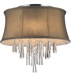 CWI- Audrey 4 Light Drum Shade Flush Mount with Chrome finish (5532C16C (Brown))