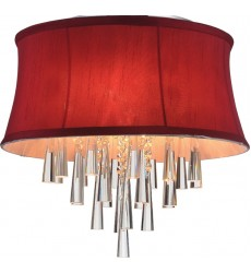 CWI- Audrey 4 Light Drum Shade Flush Mount with Chrome finish (5532C16C (Rose Red))